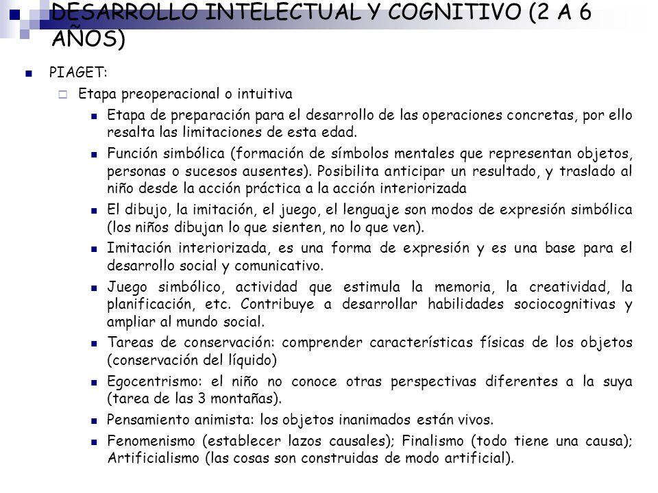 DESARROLLO INTELECTUAL Y COGNITIVO (2 A 6 AÑOS) PIAGET: Etapa preoperacional o intuitiva Etapa de preparación para el desarrollo de las operaciones co