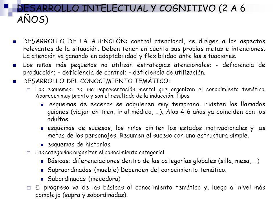 DESARROLLO INTELECTUAL Y COGNITIVO (2 A 6 AÑOS) DESARROLLO DE LA ATENCIÓN: control atencional, se dirigen a los aspectos relevantes de la situación. D