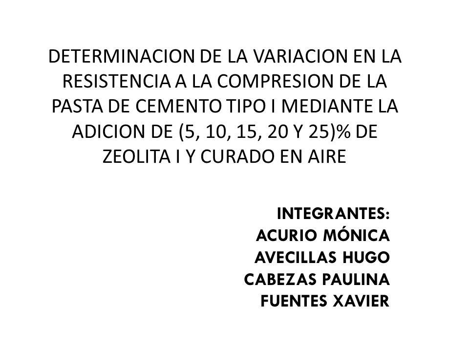 DETERMINACION DE LA VARIACION EN LA RESISTENCIA A LA COMPRESION DE LA PASTA DE CEMENTO TIPO I MEDIANTE LA ADICION DE (5, 10, 15, 20 Y 25)% DE ZEOLITA