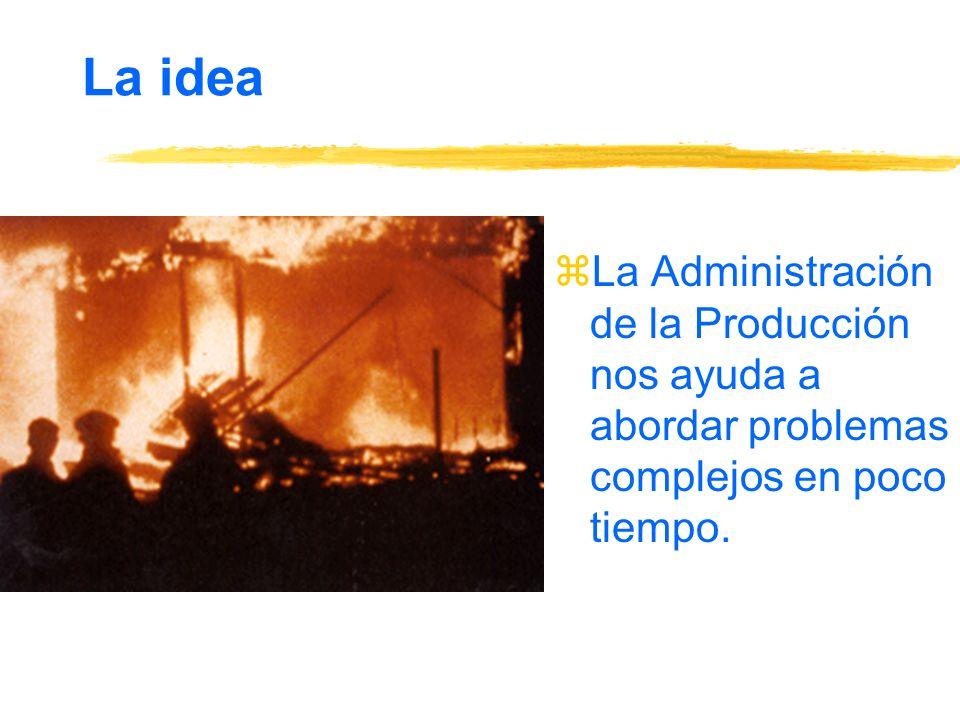 La idea zLa Administración de la Producción nos ayuda a abordar problemas complejos en poco tiempo.