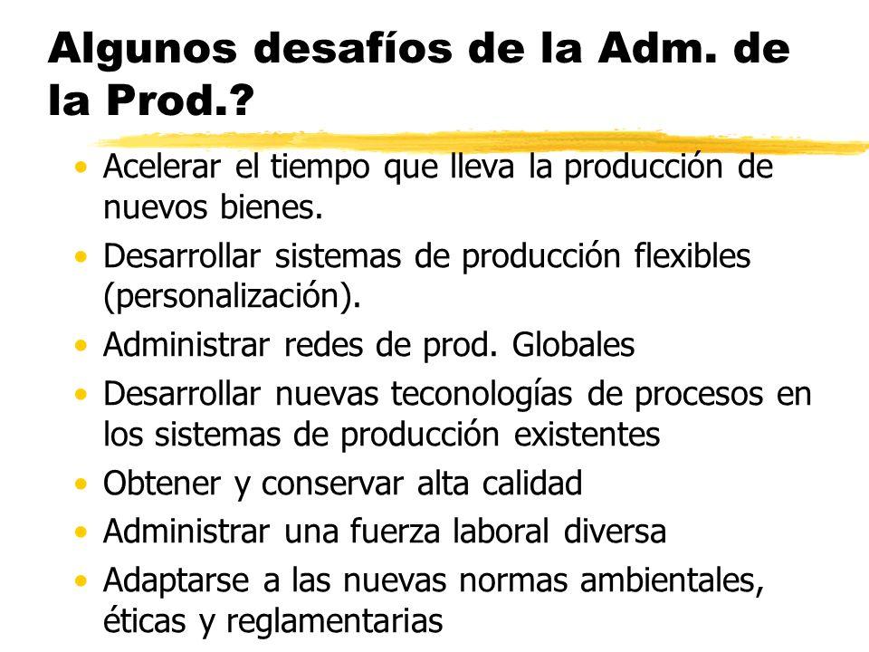 Algunos desafíos de la Adm.de la Prod..