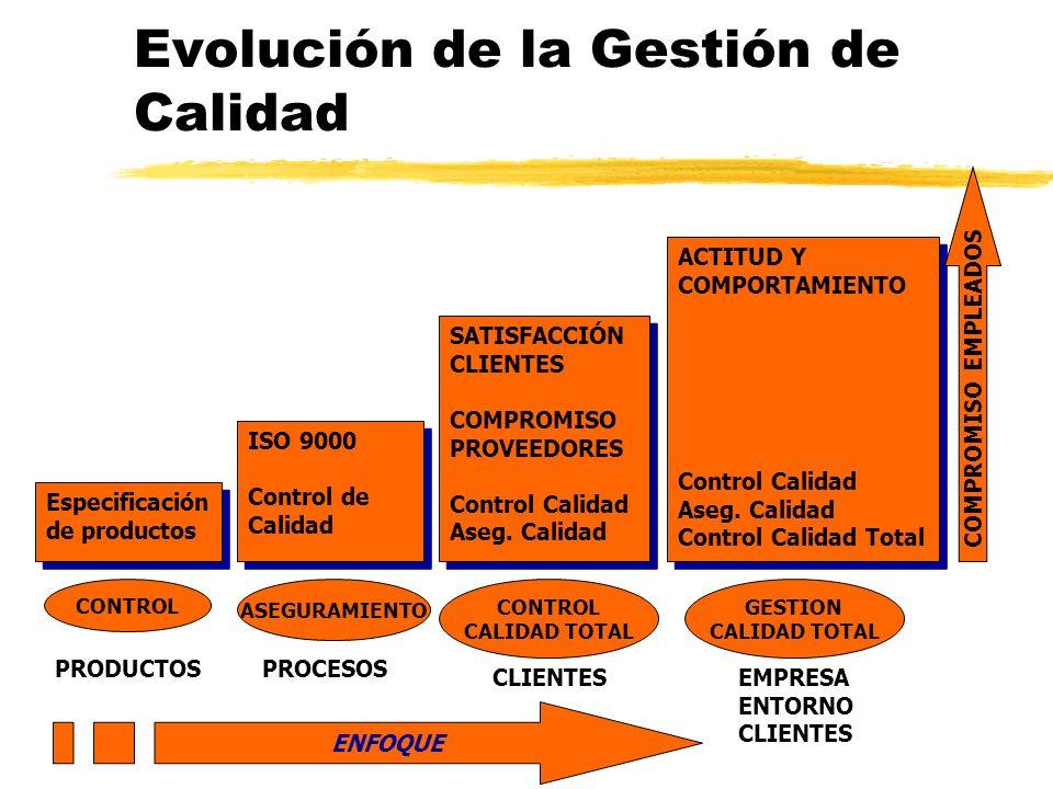 Evolución de la Gestión de Calidad ISO 9000 Control de Calidad ISO 9000 Control de Calidad Especificación de productos Especificación de productos SATISFACCIÓN CLIENTES COMPROMISO PROVEEDORES Control Calidad Aseg.