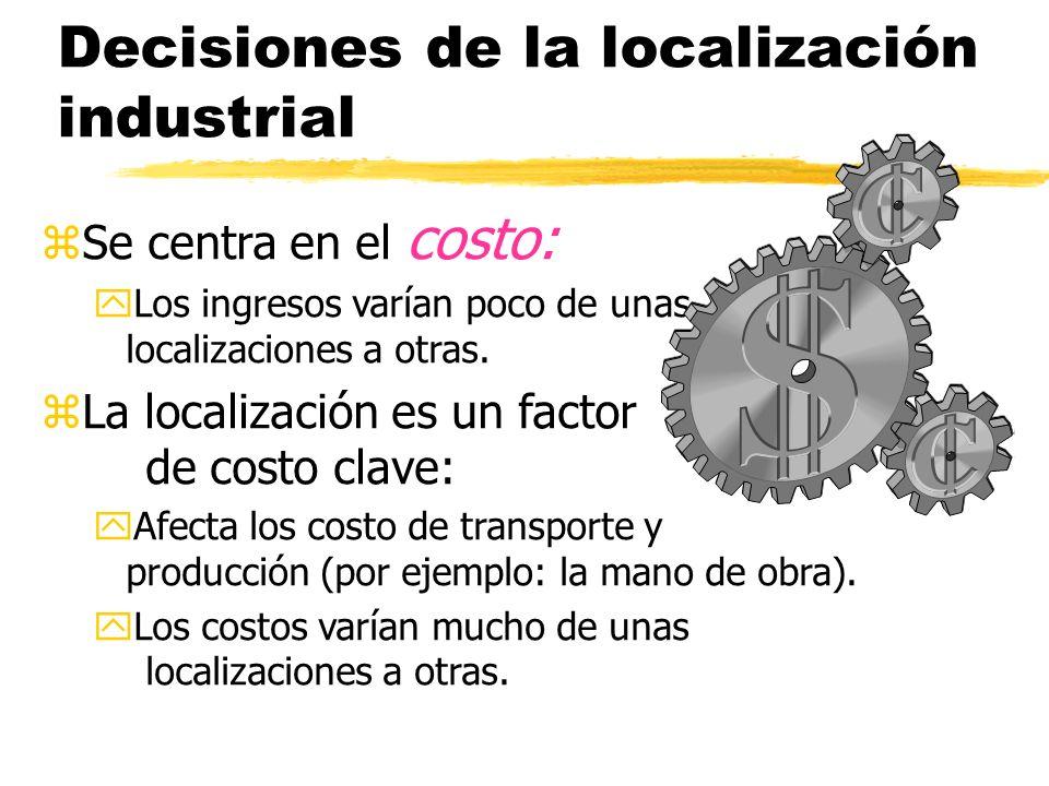 Decisiones de la localización industrial zSe centra en el costo: yLos ingresos varían poco de unas localizaciones a otras.