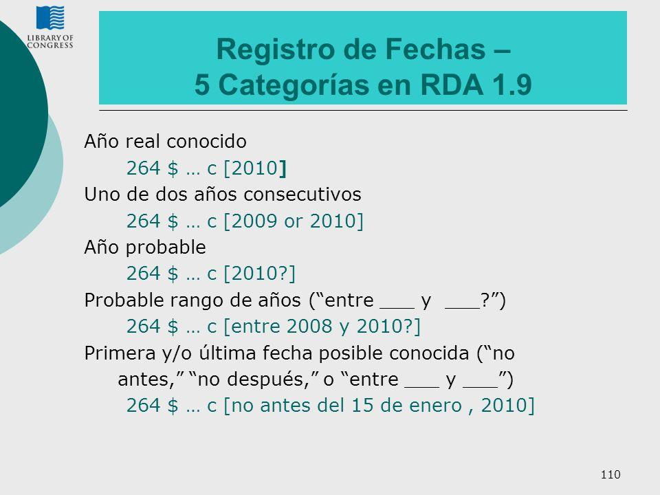 110 Registro de Fechas – 5 Categorías en RDA 1.9 Año real conocido 264 $ … c [2010] Uno de dos años consecutivos 264 $ … c [2009 or 2010] Año probable