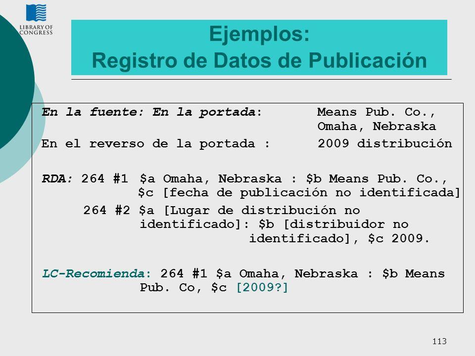 113 Ejemplos: Registro de Datos de Publicación En la fuente: En la portada: Means Pub. Co., Omaha, Nebraska En el reverso de la portada : 2009 distrib