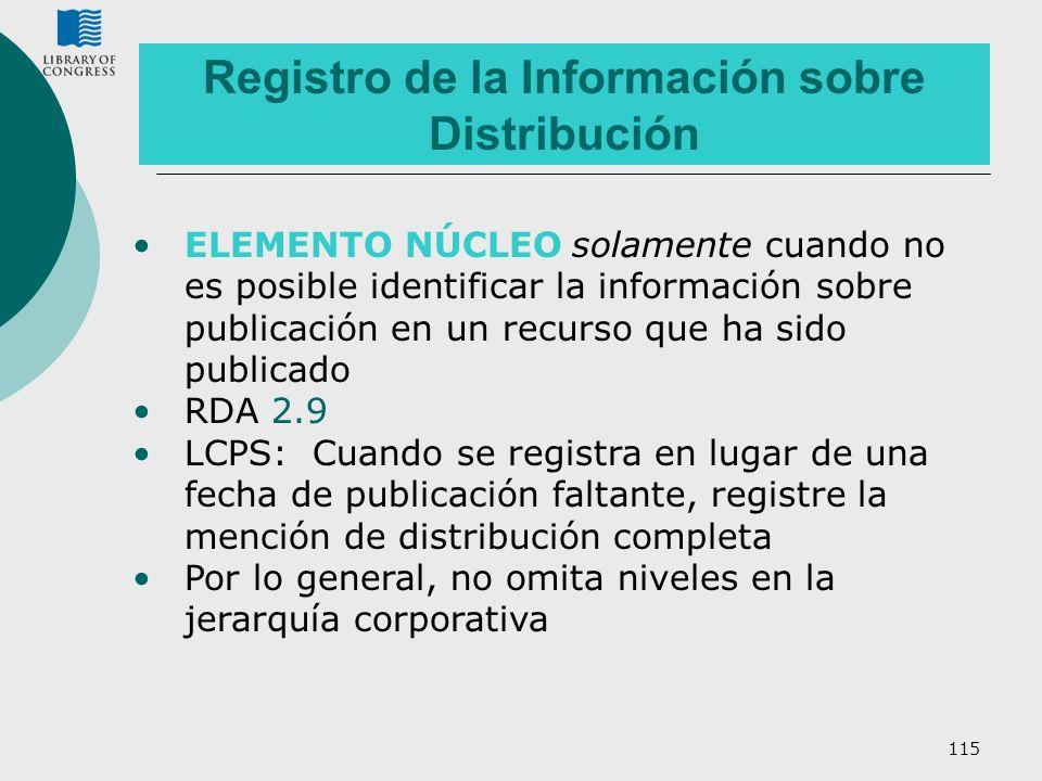 115 ELEMENTO NÚCLEO solamente cuando no es posible identificar la información sobre publicación en un recurso que ha sido publicado RDA 2.9 LCPS: Cuan