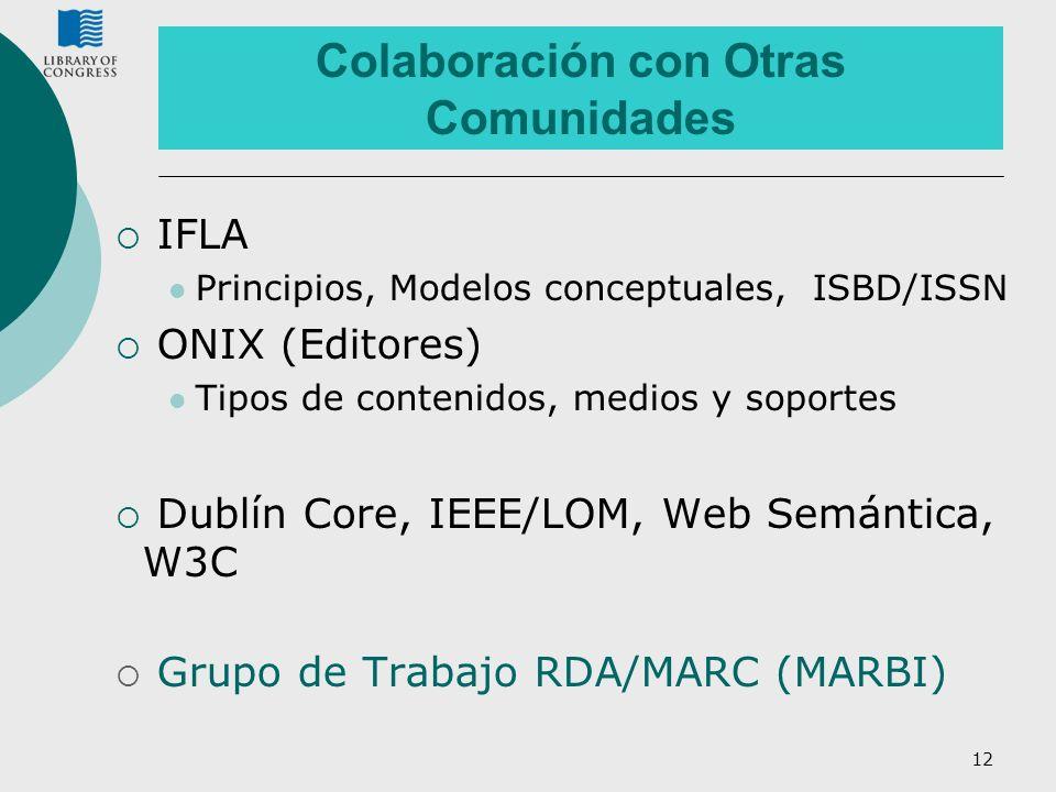 12 Colaboración con Otras Comunidades IFLA Principios, Modelos conceptuales, ISBD/ISSN ONIX (Editores) Tipos de contenidos, medios y soportes Dublín C