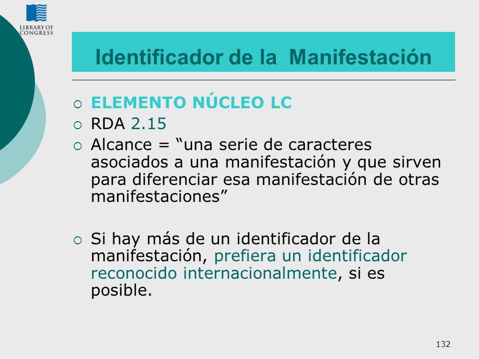 132 Identificador de la Manifestación ELEMENTO NÚCLEO LC RDA 2.15 Alcance = una serie de caracteres asociados a una manifestación y que sirven para di