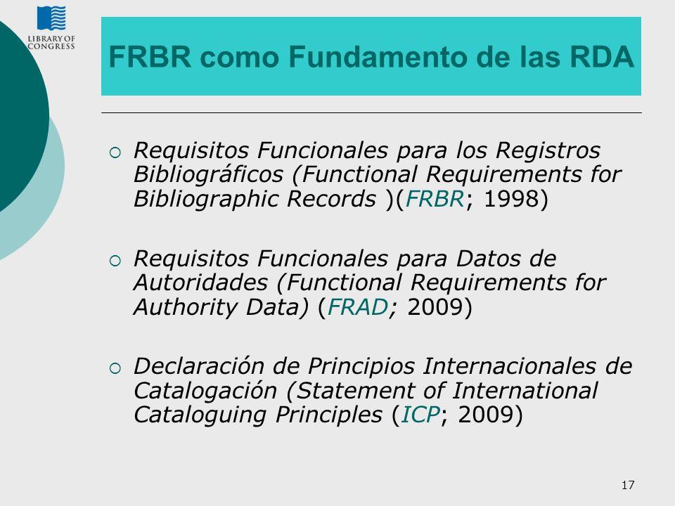 17 FRBR como Fundamento de las RDA Requisitos Funcionales para los Registros Bibliográficos (Functional Requirements for Bibliographic Records )(FRBR;