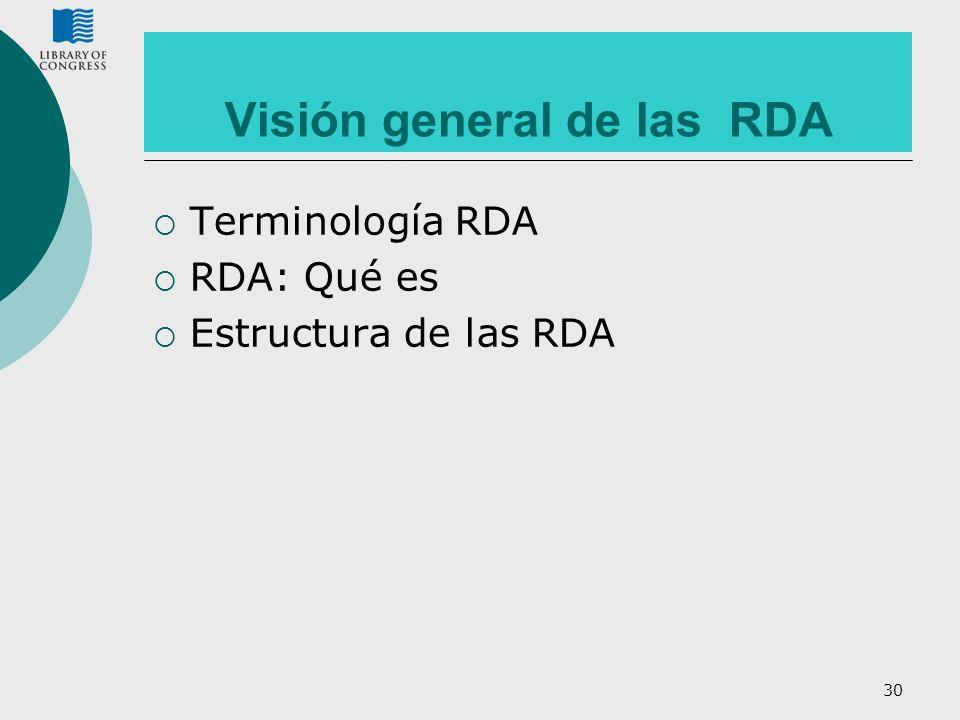 30 Visión general de las RDA Terminología RDA RDA: Qué es Estructura de las RDA