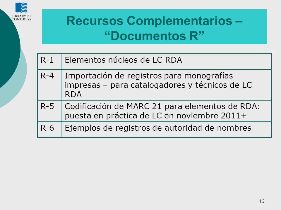 46 Recursos Complementarios – Documentos R R-1Elementos núcleos de LC RDA R-4Importación de registros para monografías impresas – para catalogadores y
