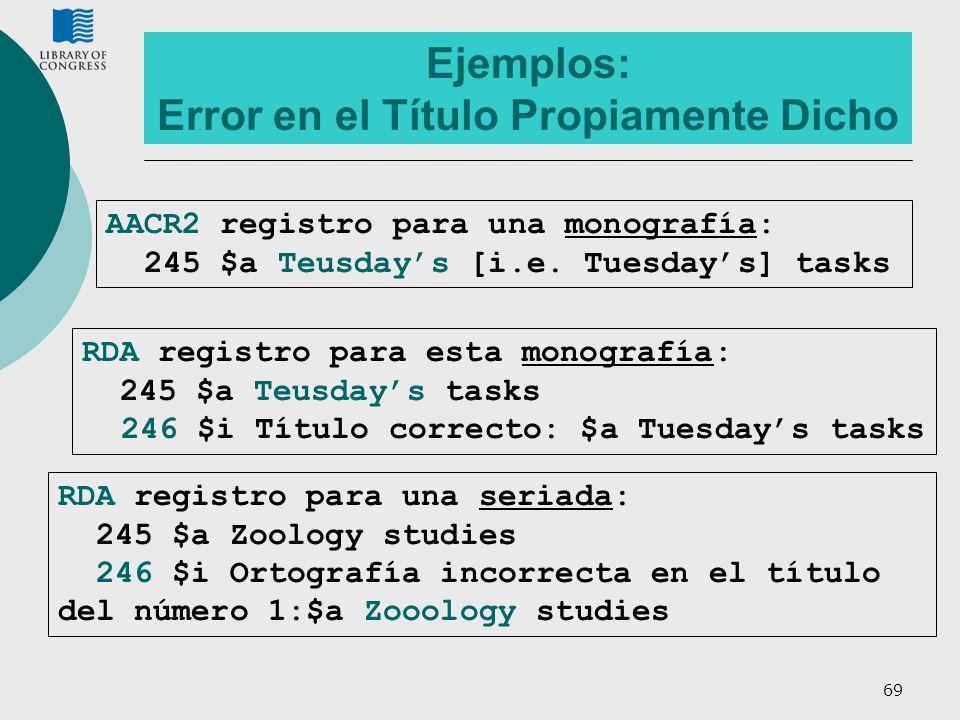 69 Ejemplos: Error en el Título Propiamente Dicho RDA registro para esta monografía: 245 $a Teusdays tasks 246 $i Título correcto: $a Tuesdays tasks R