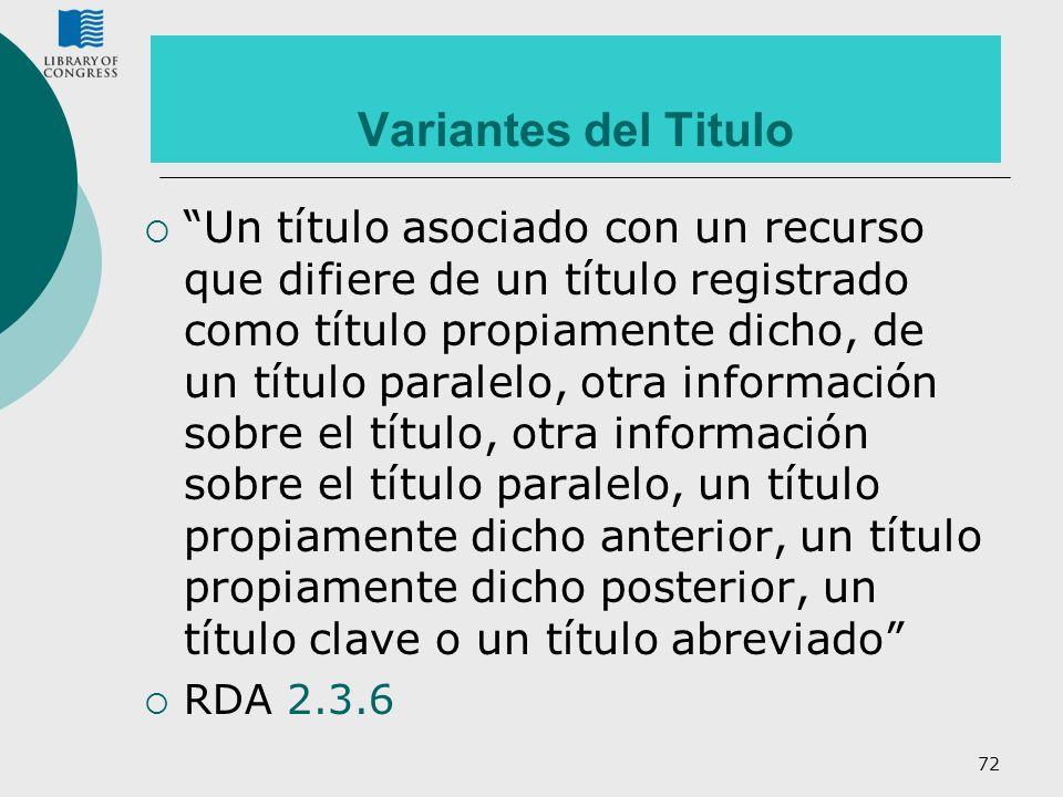 72 Variantes del Titulo Un título asociado con un recurso que difiere de un título registrado como título propiamente dicho, de un título paralelo, ot