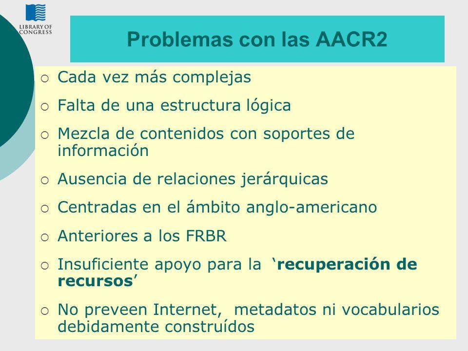 9 Problemas con las AACR2 Cada vez más complejas Falta de una estructura lógica Mezcla de contenidos con soportes de información Ausencia de relacione
