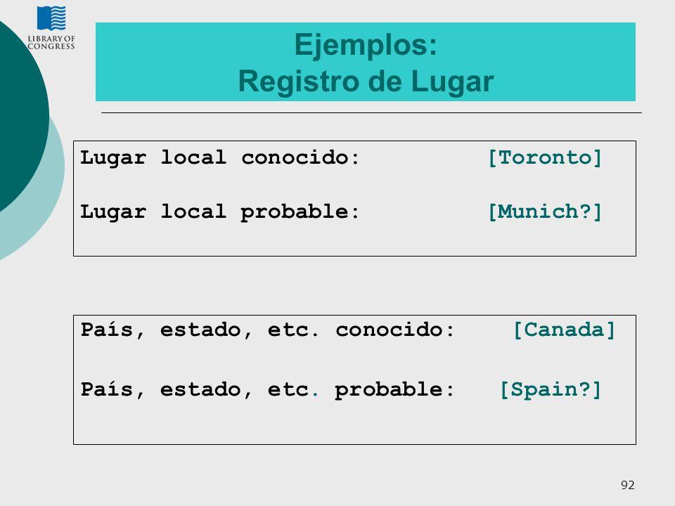 92 Ejemplos: Registro de Lugar País, estado, etc. conocido: [Canada] País, estado, etc. probable: [Spain?] Lugar local conocido: [Toronto] Lugar local