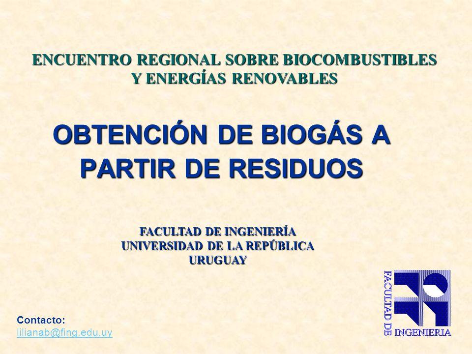 OBTENCIÓN DE BIOGÁS A PARTIR DE RESIDUOS Contacto: lilianab@fing.edu.uy lilianab@fing.edu.uy FACULTAD DE INGENIERÍA UNIVERSIDAD DE LA REPÚBLICA URUGUAY ENCUENTRO REGIONAL SOBRE BIOCOMBUSTIBLES Y ENERGÍAS RENOVABLES