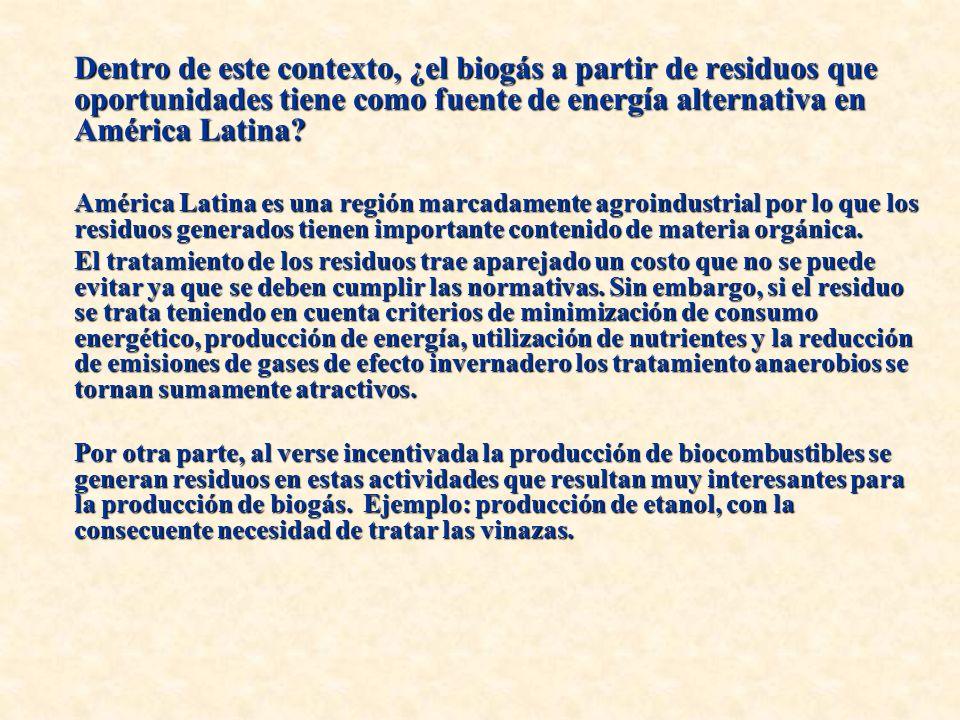 Dentro de este contexto, ¿el biogás a partir de residuos que oportunidades tiene como fuente de energía alternativa en América Latina.