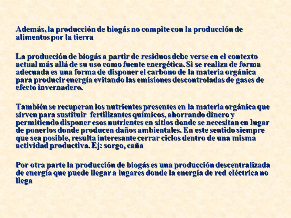 Además, la producción de biogás no compite con la producción de alimentos por la tierra La producción de biogás a partir de residuos debe verse en el contexto actual más allá de su uso como fuente energética.