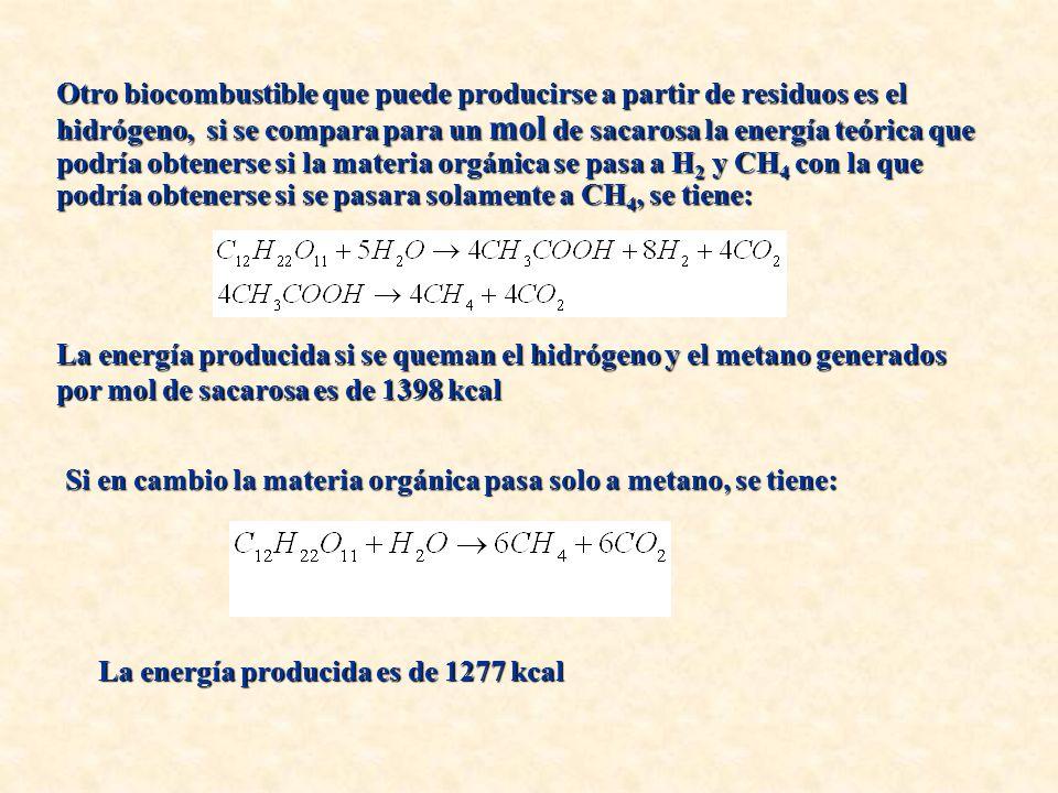 Otro biocombustible que puede producirse a partir de residuos es el hidrógeno, si se compara para un mol de sacarosa la energía teórica que podría obtenerse si la materia orgánica se pasa a H 2 y CH 4 con la que podría obtenerse si se pasara solamente a CH 4, se tiene: La energía producida si se queman el hidrógeno y el metano generados por mol de sacarosa es de 1398 kcal Si en cambio la materia orgánica pasa solo a metano, se tiene: La energía producida es de 1277 kcal