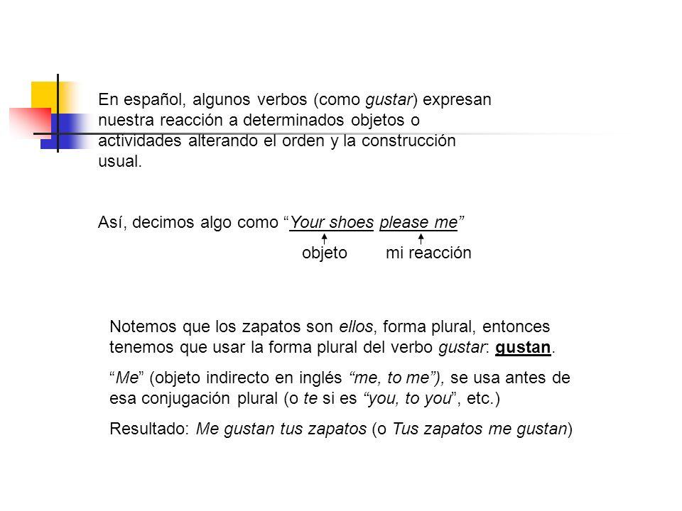 En español, algunos verbos (como gustar) expresan nuestra reacción a determinados objetos o actividades alterando el orden y la construcción usual. As