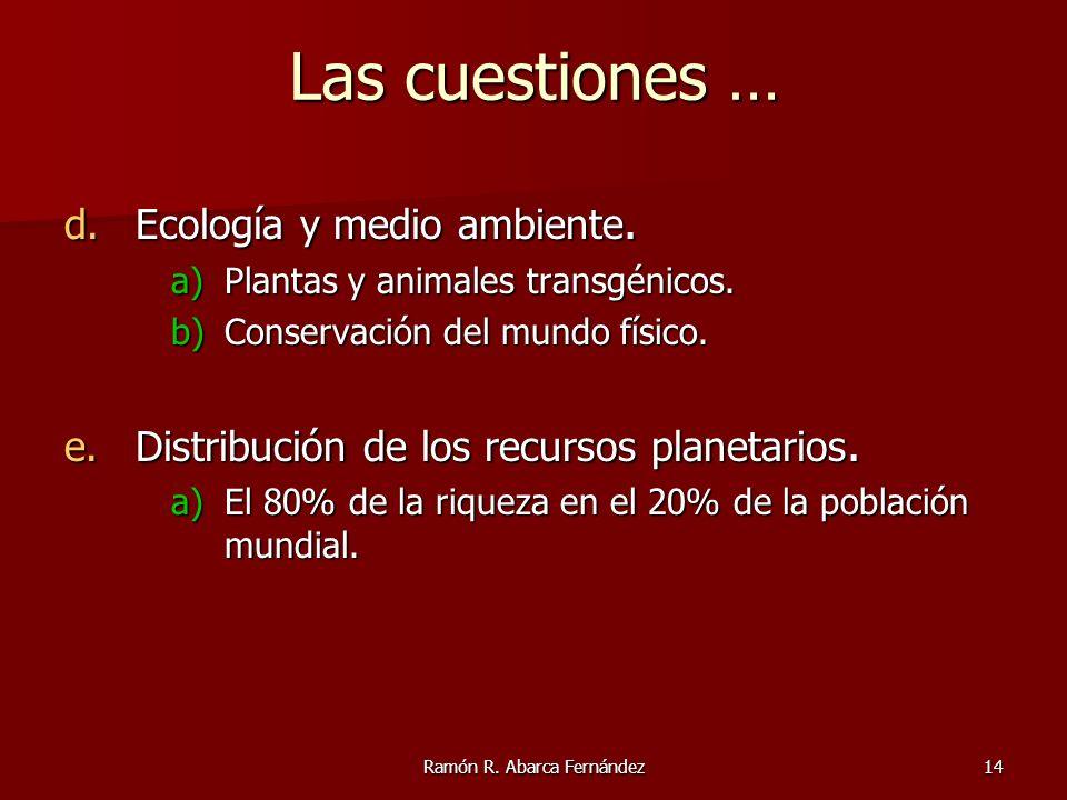 Ramón R. Abarca Fernández14 Las cuestiones … d.Ecología y medio ambiente. a)Plantas y animales transgénicos. b)Conservación del mundo físico. e.Distri