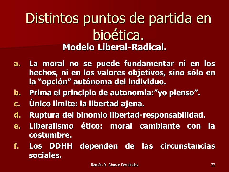 Ramón R. Abarca Fernández22 Modelo Liberal-Radical. a.La moral no se puede fundamentar ni en los hechos, ni en los valores objetivos, sino sólo en la