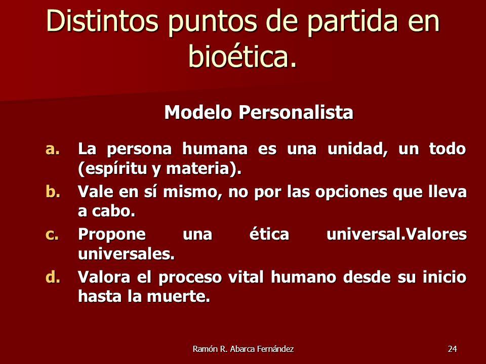 Ramón R. Abarca Fernández24 Modelo Personalista Modelo Personalista a.La persona humana es una unidad, un todo (espíritu y materia). b.Vale en sí mism
