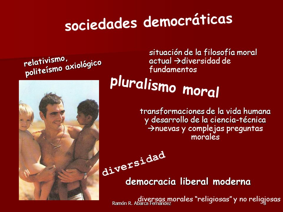 Ramón R. Abarca Fernández8 sociedades democráticas diversidad pluralismo moral democracia liberal moderna relativismo, politeísmo axiológico transform