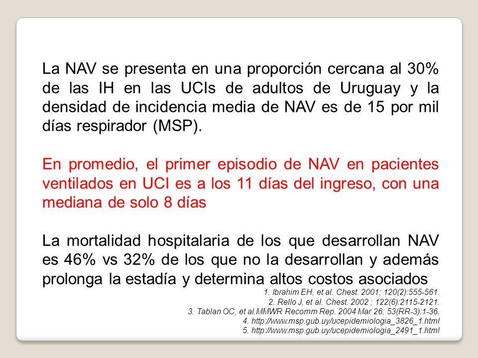 La NAV se presenta en una proporción cercana al 30% de las IH en las UCIs de adultos de Uruguay y la densidad de incidencia media de NAV es de 15 por