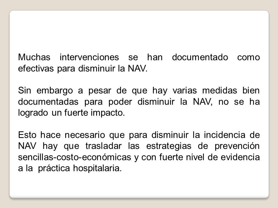 Muchas intervenciones se han documentado como efectivas para disminuir la NAV. Sin embargo a pesar de que hay varias medidas bien documentadas para po
