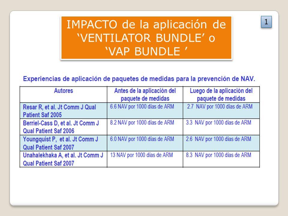 IMPACTO de la aplicación de VENTILATOR BUNDLE o VAP BUNDLE 1 1