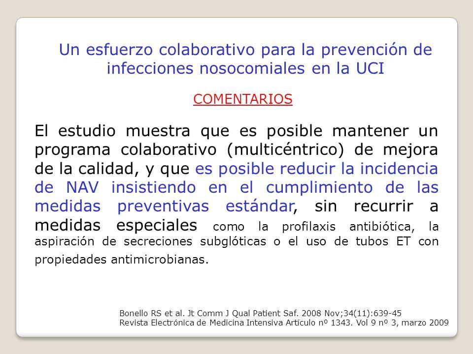 Bonello RS et al. Jt Comm J Qual Patient Saf. 2008 Nov;34(11):639-45 Revista Electrónica de Medicina Intensiva Artículo nº 1343. Vol 9 nº 3, marzo 200