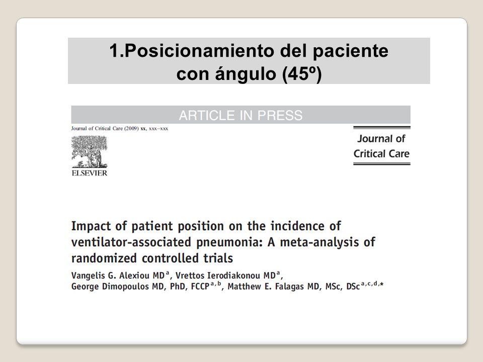 1.Posicionamiento del paciente con ángulo (45º)