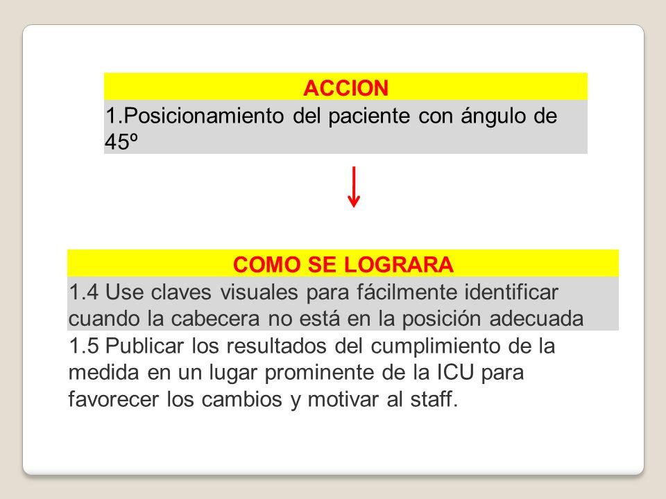 ACCION 1.Posicionamiento del paciente con ángulo de 45º COMO SE LOGRARA 1.4 Use claves visuales para fácilmente identificar cuando la cabecera no está