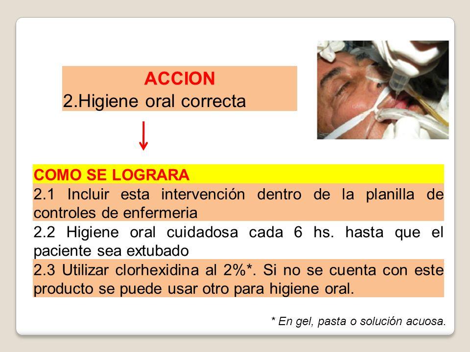 ACCION 2.Higiene oral correcta COMO SE LOGRARA 2.1 Incluir esta intervención dentro de la planilla de controles de enfermeria 2.2 Higiene oral cuidado