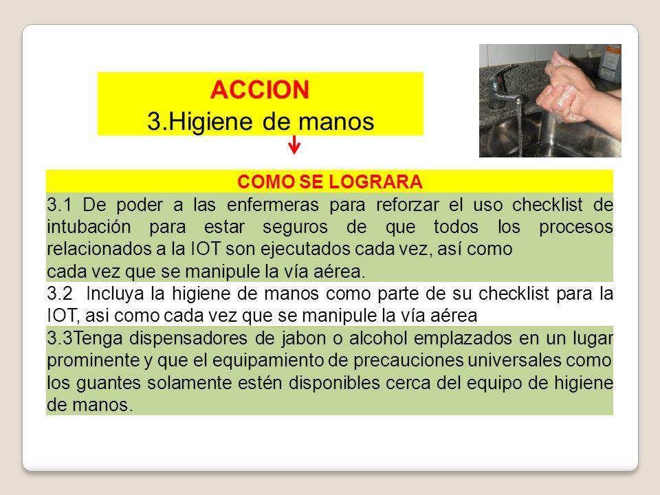 ACCION 3.Higiene de manos COMO SE LOGRARA 3.1 De poder a las enfermeras para reforzar el uso checklist de intubación para estar seguros de que todos l