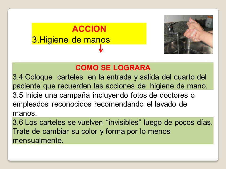 ACCION 3.Higiene de manos COMO SE LOGRARA 3.4 Coloque carteles en la entrada y salida del cuarto del paciente que recuerden las acciones de higiene de