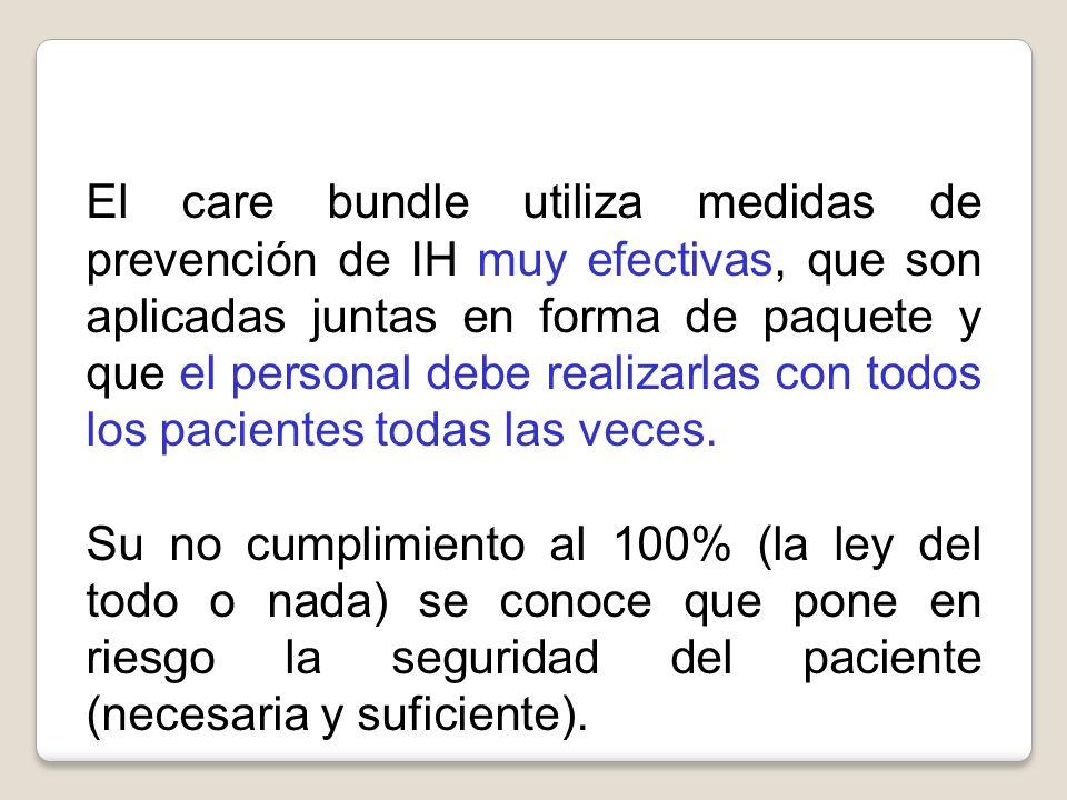 El care bundle utiliza medidas de prevención de IH muy efectivas, que son aplicadas juntas en forma de paquete y que el personal debe realizarlas con
