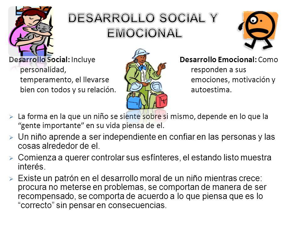 Desarrollo Social: Incluye personalidad, temperamento, el llevarse bien con todos y su relación. Desarrollo Emocional: Como responden a sus emociones,