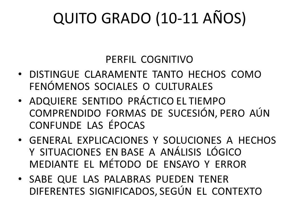 QUITO GRADO (10-11 AÑOS) PERFIL COGNITIVO DISTINGUE CLARAMENTE TANTO HECHOS COMO FENÓMENOS SOCIALES O CULTURALES ADQUIERE SENTIDO PRÁCTICO EL TIEMPO C