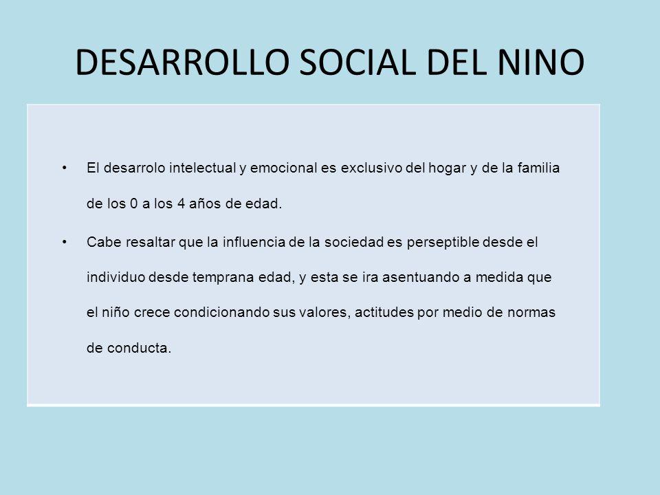 DESARROLLO SOCIAL DEL NINO El desarrolo intelectual y emocional es exclusivo del hogar y de la familia de los 0 a los 4 años de edad. Cabe resaltar qu