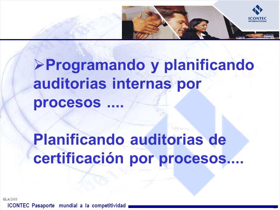 ICONTEC Pasaporte mundial a la competitividad GLA/2003 22 Utilizando la identificación de procesos de la organización como elemento de integración del sistema de gestión de calidad (ISO 9000), del sistema de gestión ambiental (ISO 14000) y del sistema de gestión de seguridad y salud ocupcional (OHSAS 18000)