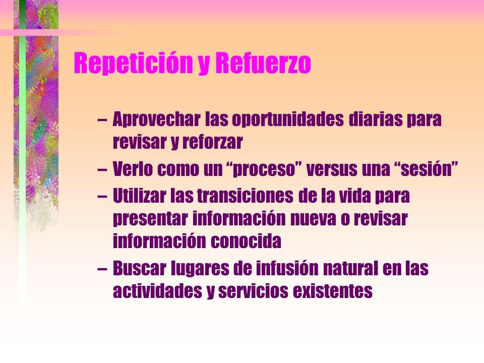 Repetición y Refuerzo –Aprovechar las oportunidades diarias para revisar y reforzar –Verlo como un proceso versus una sesión –Utilizar las transicione
