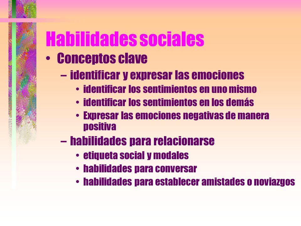 Habilidades sociales Conceptos clave –identificar y expresar las emociones identificar los sentimientos en uno mismo identificar los sentimientos en l