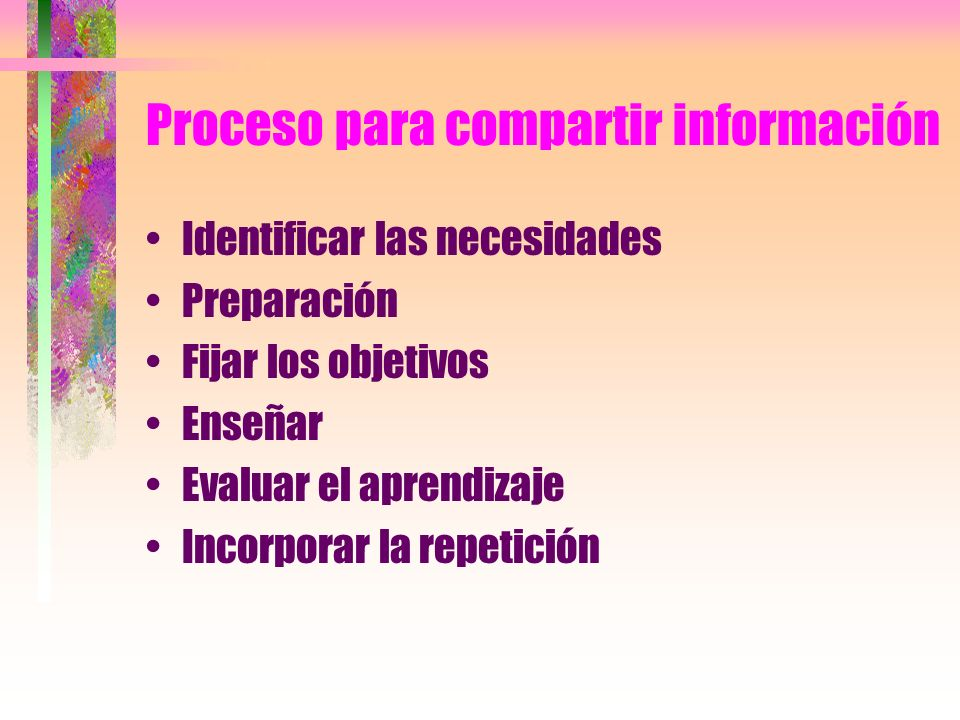Proceso para compartir información Identificar las necesidades Preparación Fijar los objetivos Enseñar Evaluar el aprendizaje Incorporar la repetición