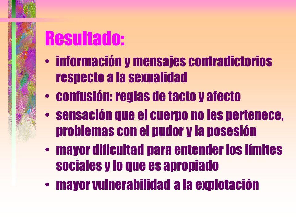 Resultado: información y mensajes contradictorios respecto a la sexualidad confusión: reglas de tacto y afecto sensación que el cuerpo no les pertenec