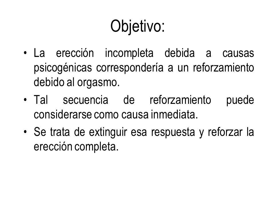 Objetivo: La erección incompleta debida a causas psicogénicas correspondería a un reforzamiento debido al orgasmo. Tal secuencia de reforzamiento pued