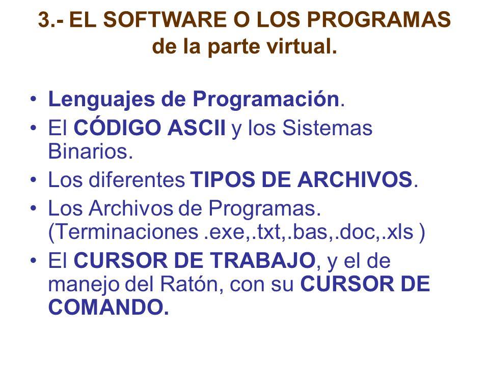 3.- EL SOFTWARE O LOS PROGRAMAS de la parte virtual. Lenguajes de Programación. El CÓDIGO ASCII y los Sistemas Binarios. Los diferentes TIPOS DE ARCHI