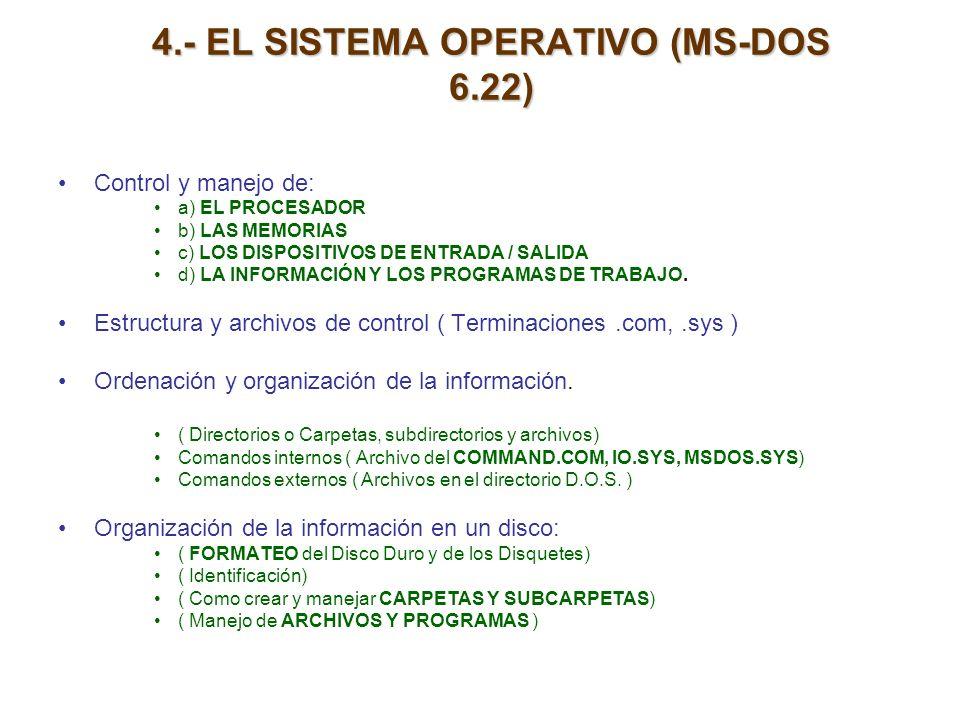 4.- EL SISTEMA OPERATIVO (MS-DOS 6.22) Control y manejo de: a) EL PROCESADOR b) LAS MEMORIAS c) LOS DISPOSITIVOS DE ENTRADA / SALIDA d) LA INFORMACIÓN