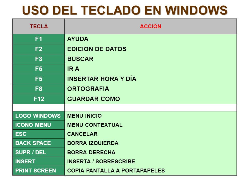 USO DEL TECLADO EN WINDOWS TECLAACCION F1AYUDA F2EDICION DE DATOS F3BUSCAR F5IR A F5INSERTAR HORA Y DÍA F8ORTOGRAFIA F12GUARDAR COMO LOGO WINDOWSMENU